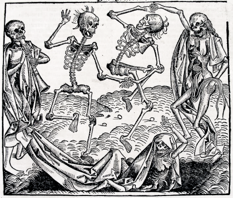 Dance of Death, German printed edition Chronicle of the World (Hartman Schedel, Nuremberg, 1493). Artist believed to be Michael Wolgemut.