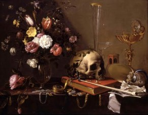 Still Life with a Bouquet and Skull, Adriaen Van Utrecth, 1642.
