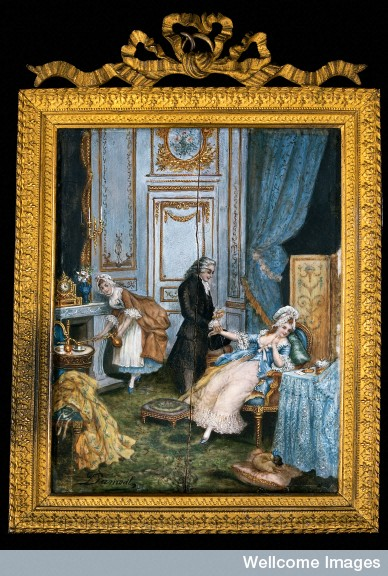 V0018217 A physician taking a lady's pulse in her boudoir. Gouache su
