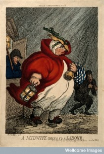 V0014925 An obese midwife on her way to a labour in the early hours o