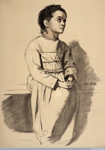 L0026692 A woman diagnosed as suffering from melancholia. Lithograph,