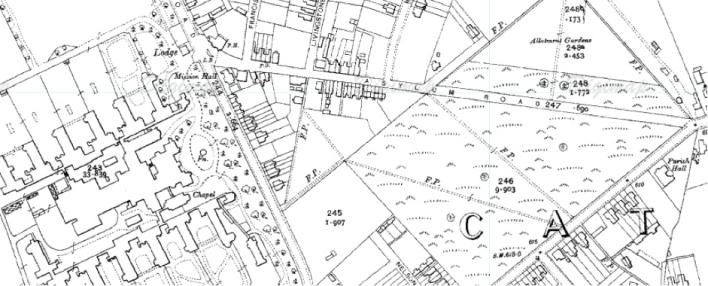Asylum Road, Caterham (Ordnance Survey Map, 1910).