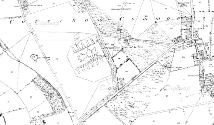 Caterham Asylum (Ordnance Survey Map, 1870)