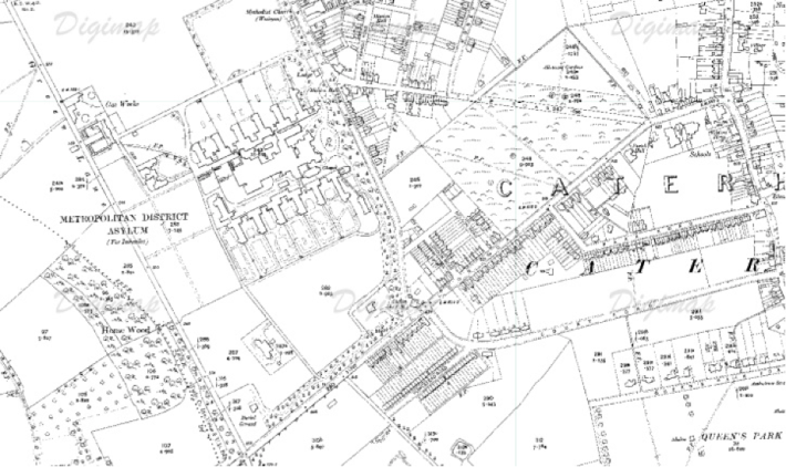 Caterham Asylum (Ordnance Survey Map, 1910).