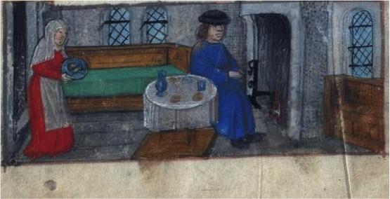 University of Leeds, Horae Beatae Mariae Virginis, Brotherton MS 9, folio 1v, detail: a woman serving food http://library.leeds.ac.uk/special-collections-explore/373151