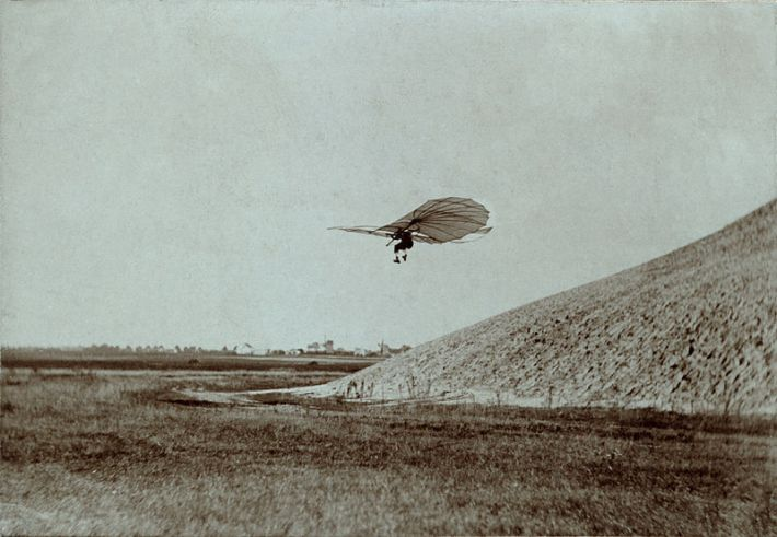 Otto Lilienthal performing a gliding experiments. Ca. 1895.
