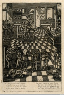 Singerie of a barbershop. Engraving after P. van der Borcht. © Wellcome Images, Wellcome Library, London.
