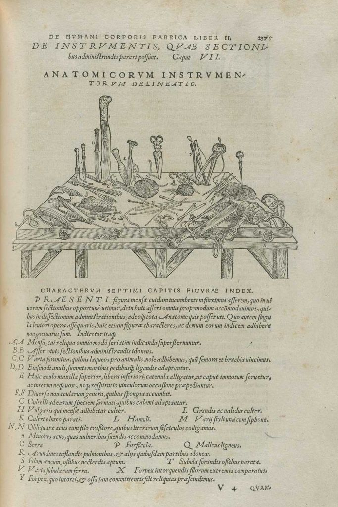 Instruments from Vesalius's Fabrica (courtesy of the National Library of Medicine)