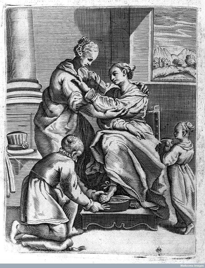Bloodletting from the foot being performed on a female. Tiberio Malfi, Il barbiere...libri tre. Naples, 1626. ©Wellcome Images, Wellcome Library, London.