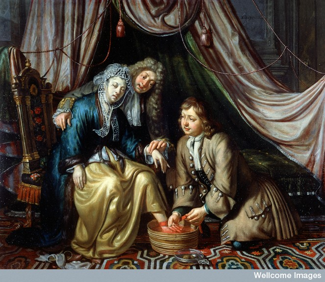 A physician and a surgeon attending to a woman patient. Oil painting by Mathijs Naiveu. ©Wellcome Images, Wellcome Library, London.