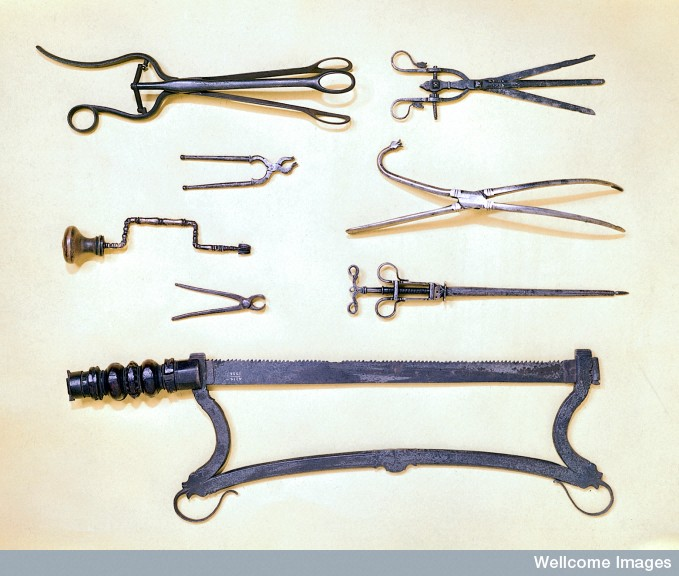 Surgical instruments of the 16th and 17th centuries. ©Wellcome Images, Wellcome Library, London.