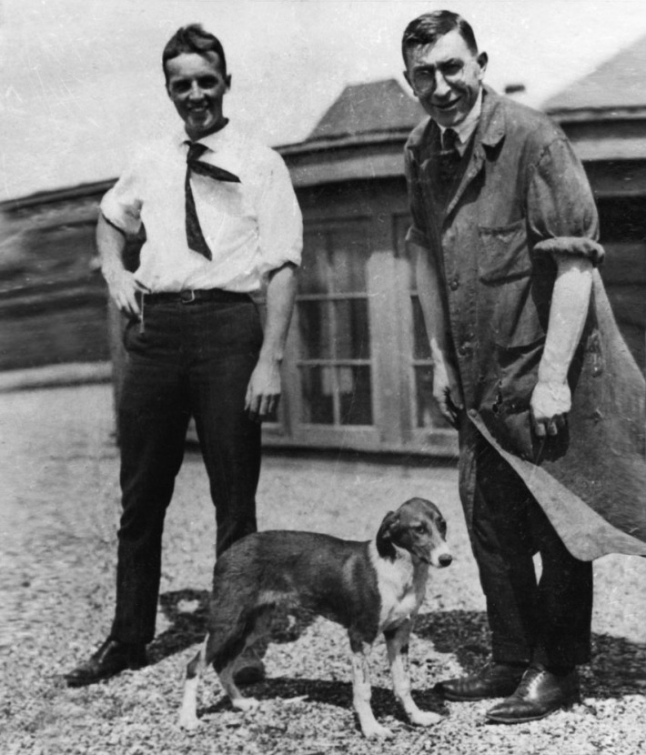 Frederick Banting (right) and Albert Best with Marjorie the dog (1921). She had been made diabetic by partial pancreatectomy and was then treated with an extract of bovine pancreas. The first human patient, 14-year-old Leonard Thomson, was treated shortly afterwards. Treatment of diabetes with insulin is now commonplace in dogs and cats, and of course, humans.
