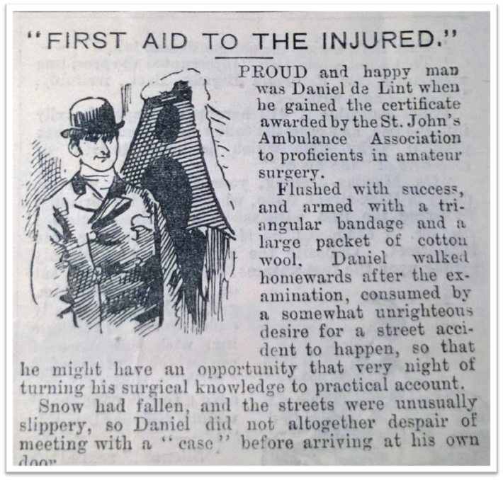 Fig.1 Excerpt from an 1891 issue of the comic periodical Funny Folk. The piece 'First Aid to the Injured' gently mocked the newly trained first aider, eager to try out their surgical skills. © British Library.