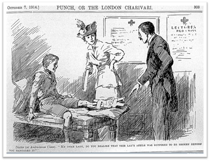 Fig.2 Cartoon from Punch , 1914. Doctor (at Ambulance Class) 'My dear lady, do you realise that his lad's ankle was supposed to be broken before you bandaged it?' © Wellcome Images, Wellcome Library, London.