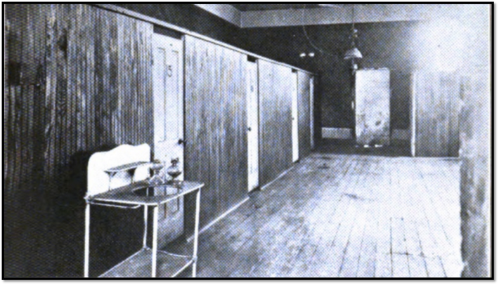 Row of windowless rooms rented out by night in Denver, Denver Tuberculosis Association