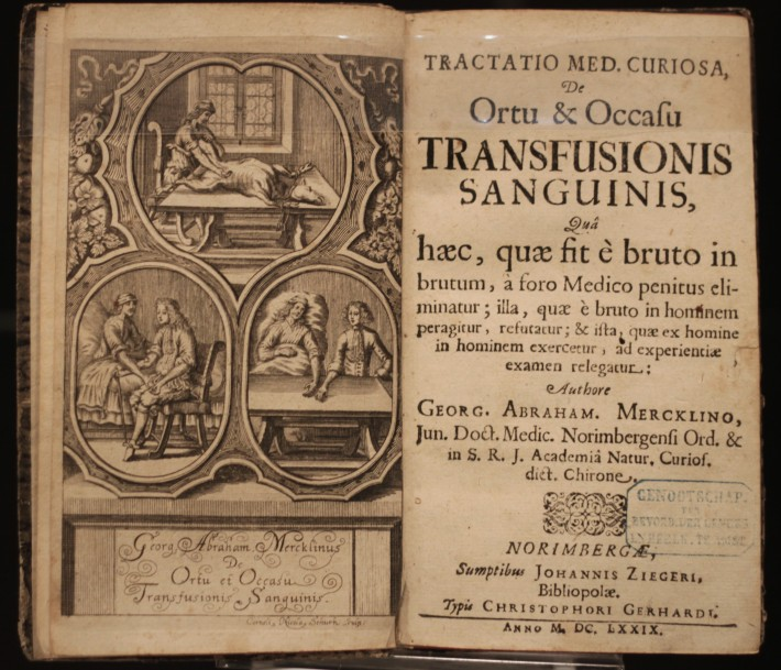 Fig. 5: Frontispiece and title page from Georg Abraham Mercklinus' De Ortu et Occasu Transfusionis Sanguinis (Nuremburg, 1679). Engravings by Corneli Nicola Schurtz showing early experimental blood transfusions. Osler Library Collection.