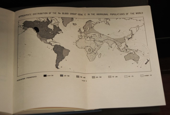 Fig. 9: Illustration from Arthur Mourant's The Distribution of the Human Blood Groups (Oxford, 1954). A hematologist and director of the Blood Group Reference Laboratory in Britain from the 1940s to 1960s, Mourant constructed ethnic and racial maps of the global distribution of human blood groups. Humanities and Social Sciences Library Collection.
